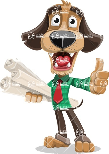 Business Dog Cartoon Vector Character AKA Donny - Plans