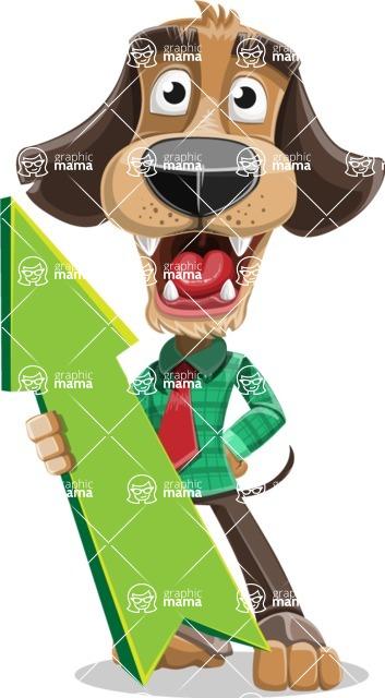 Business Dog Cartoon Vector Character AKA Donny - Pointer 1