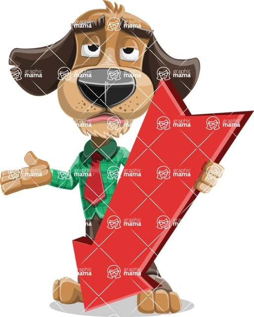 Business Dog Cartoon Vector Character AKA Donny - Pointer 3