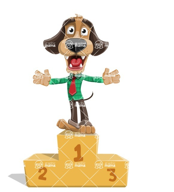 Business Dog Cartoon Vector Character AKA Donny - On Top