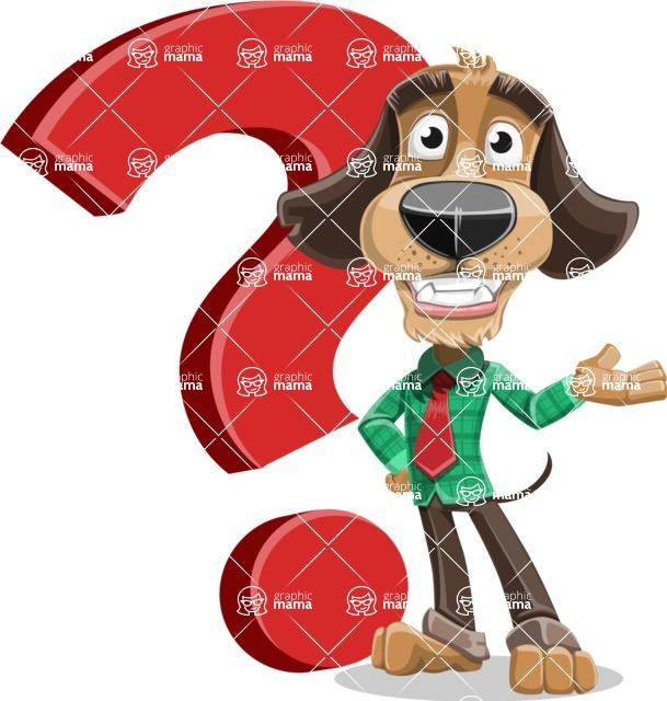Business Dog Cartoon Vector Character AKA Donny - Question