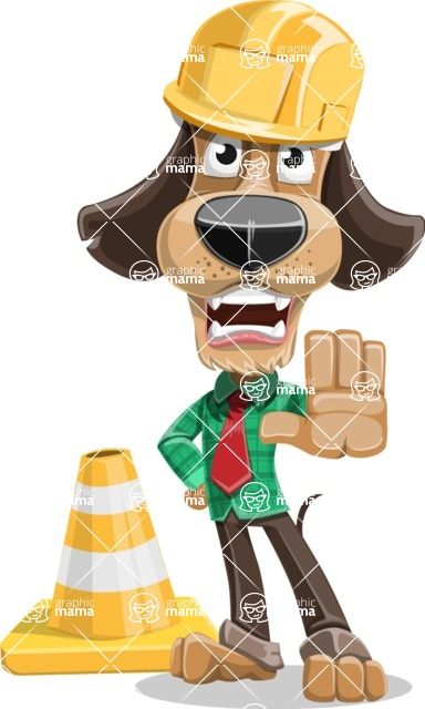 Business Dog Cartoon Vector Character AKA Donny - Under Construction 1