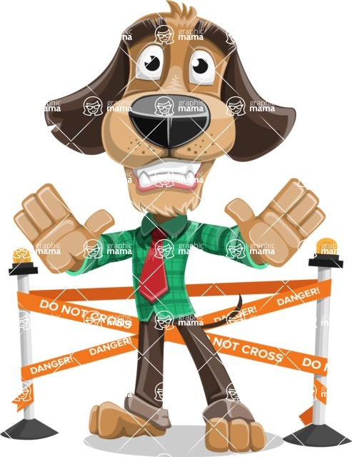 Business Dog Cartoon Vector Character AKA Donny - Under Construction 2