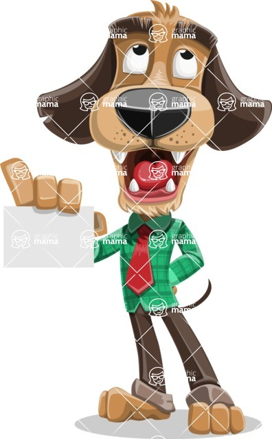 Business Dog Cartoon Vector Character AKA Donny - Sign 1