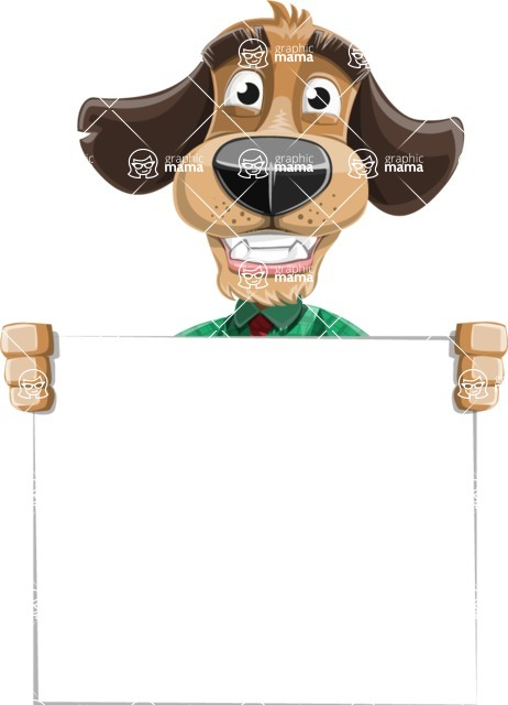 Business Dog Cartoon Vector Character AKA Donny - Sign 5