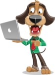 Business Dog Cartoon Vector Character AKA Donny - Laptop 1