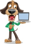 Business Dog Cartoon Vector Character AKA Donny - Laptop 3