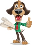 Business Dog Cartoon Vector Character AKA Donny - Plans