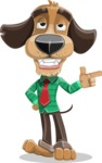 Business Dog Cartoon Vector Character AKA Donny - Point