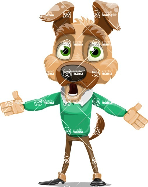 Dog With Clothes Cartoon Vector Character AKA Woofgang Dog - Stunned