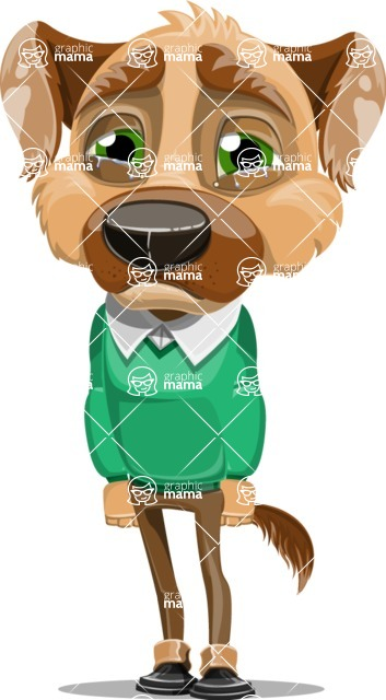 Dog With Clothes Cartoon Vector Character AKA Woofgang Dog - Sad