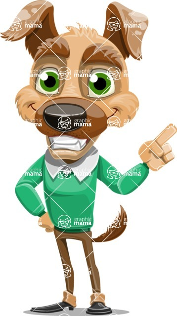 Dog With Clothes Cartoon Vector Character AKA Woofgang Dog - Attention