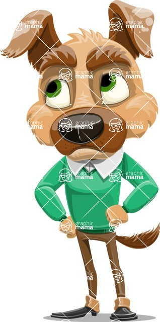 Dog With Clothes Cartoon Vector Character AKA Woofgang Dog - Roll Eyes