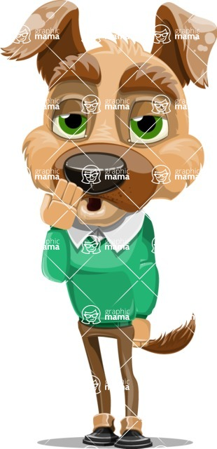 Dog With Clothes Cartoon Vector Character AKA Woofgang Dog - Bored