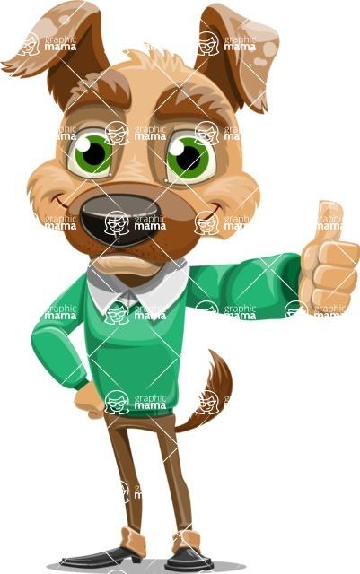 Dog With Clothes Cartoon Vector Character AKA Woofgang Dog - Thumbs Up