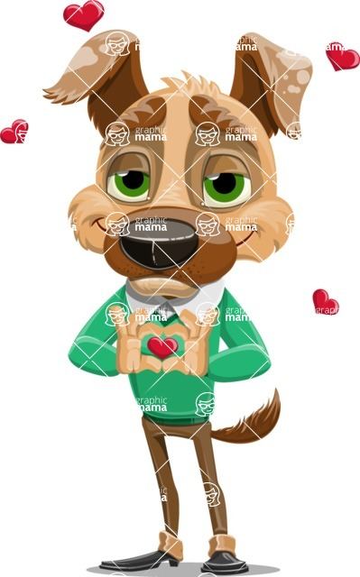 Dog With Clothes Cartoon Vector Character AKA Woofgang Dog - Show Love