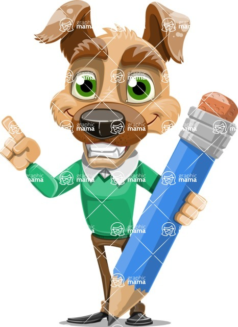 Dog With Clothes Cartoon Vector Character AKA Woofgang Dog - Pencil