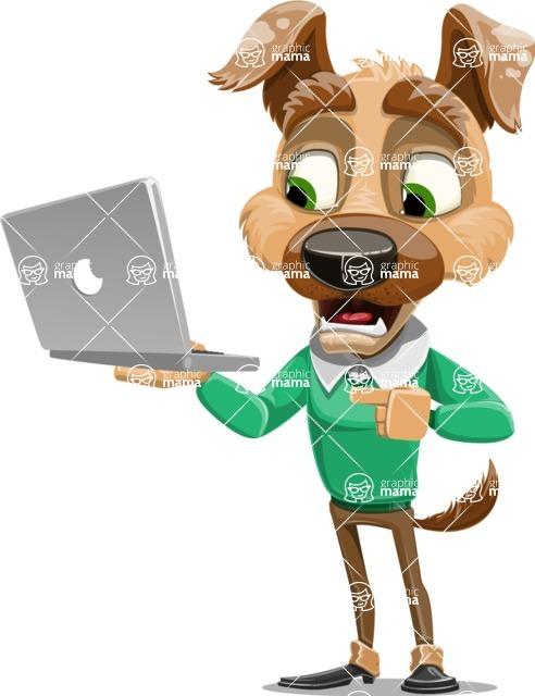 Dog With Clothes Cartoon Vector Character AKA Woofgang Dog - Laptop 1