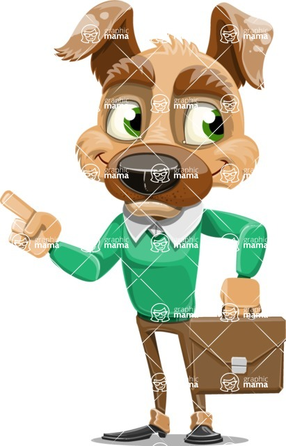 Dog With Clothes Cartoon Vector Character AKA Woofgang Dog - Briefcase 2