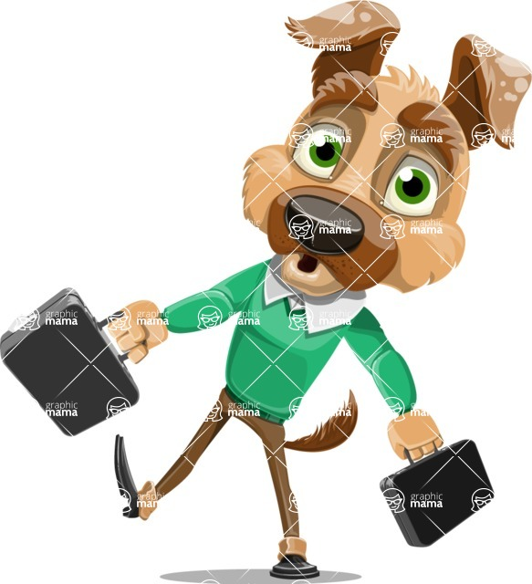 Dog With Clothes Cartoon Vector Character AKA Woofgang Dog - Briefcase 3