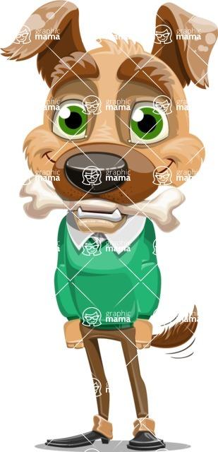 Dog With Clothes Cartoon Vector Character AKA Woofgang Dog - Bone