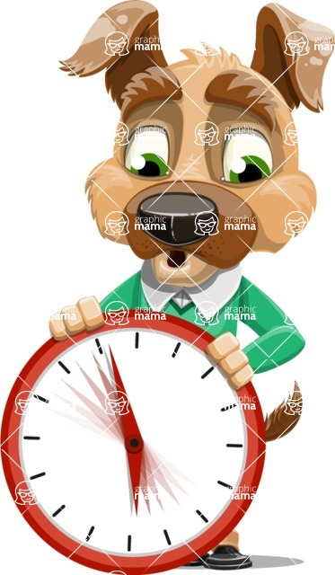 Dog With Clothes Cartoon Vector Character AKA Woofgang Dog - Time is Yours