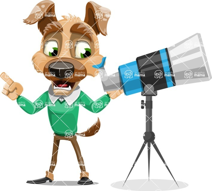 Dog With Clothes Cartoon Vector Character AKA Woofgang Dog - Telescope