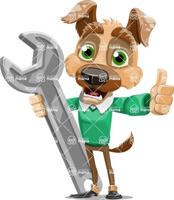 Dog With Clothes Cartoon Vector Character AKA Woofgang Dog - Repair
