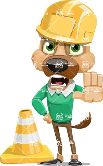 Dog With Clothes Cartoon Vector Character AKA Woofgang Dog - Under Construction 1