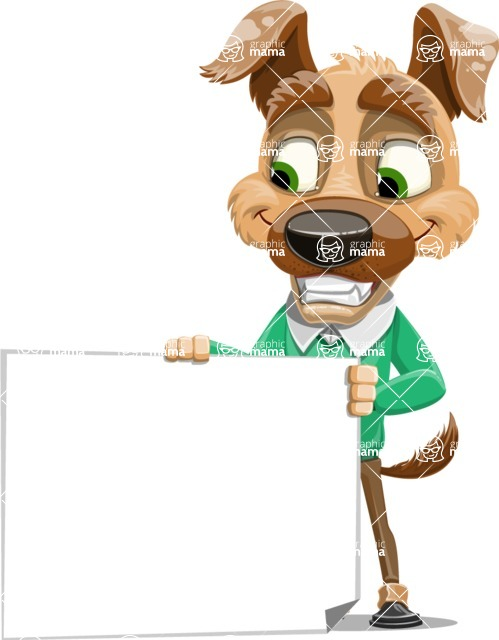 Dog With Clothes Cartoon Vector Character AKA Woofgang Dog - Sign 3