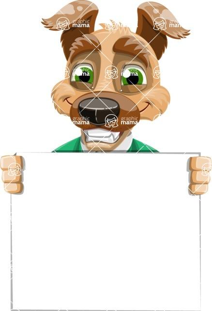 Dog With Clothes Cartoon Vector Character AKA Woofgang Dog - Sign 5