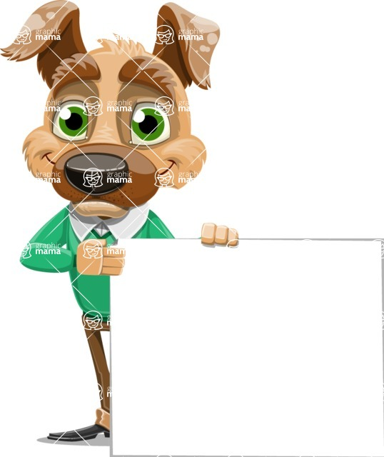 Dog With Clothes Cartoon Vector Character AKA Woofgang Dog - Sign 8