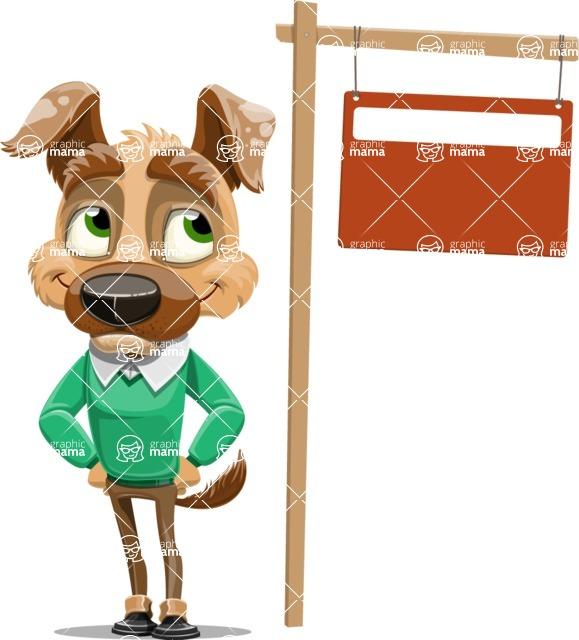 Dog With Clothes Cartoon Vector Character AKA Woofgang Dog - Sign 9
