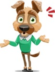 Dog With Clothes Cartoon Vector Character AKA Woofgang Dog - Shocked
