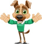 Dog With Clothes Cartoon Vector Character AKA Woofgang Dog - Hello
