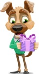 Dog With Clothes Cartoon Vector Character AKA Woofgang Dog - Gift