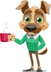 Dog With Clothes Cartoon Vector Character AKA Woofgang Dog - Coffee