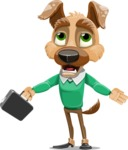 Dog With Clothes Cartoon Vector Character AKA Woofgang Dog - Briefcase 1