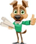Dog With Clothes Cartoon Vector Character AKA Woofgang Dog - Plans
