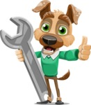 Dog With Clothes Cartoon Vector Character AKA Woofgang Dog - Repair