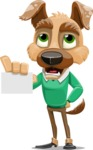 Dog With Clothes Cartoon Vector Character AKA Woofgang Dog - Sign 1