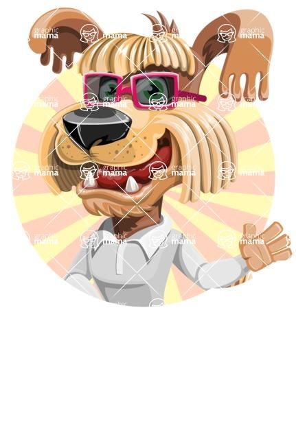 Fluffy Dog Cartoon Vector Character AKA Pinky Funk - Shape 2