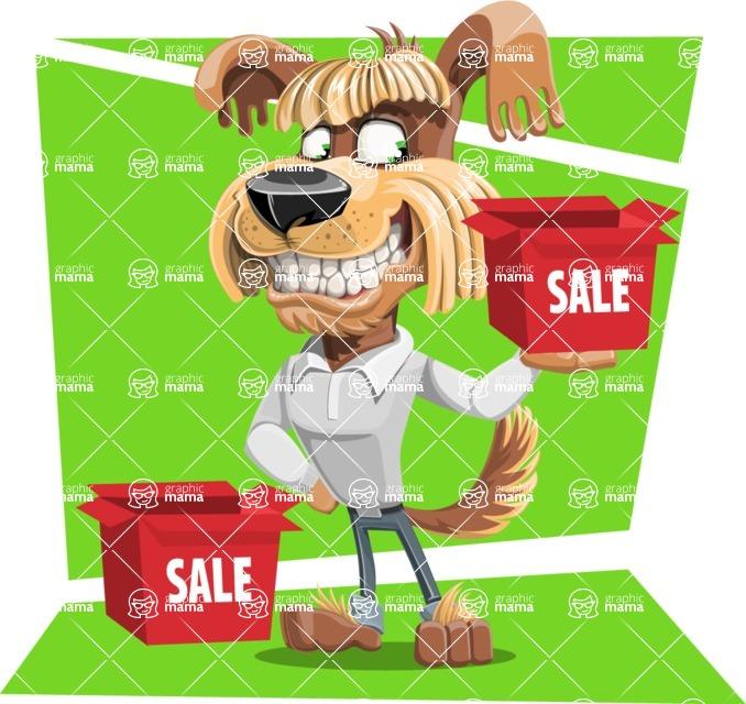 Fluffy Dog Cartoon Vector Character AKA Pinky Funk - Shape 12
