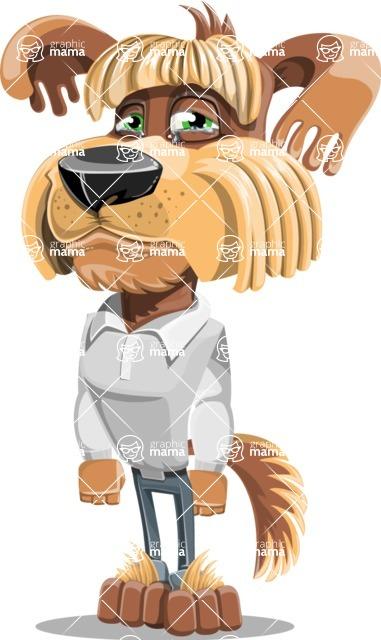 Fluffy Dog Cartoon Vector Character AKA Pinky Funk - Sad