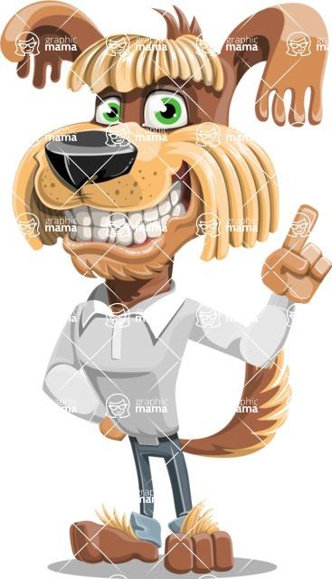 Fluffy Dog Cartoon Vector Character AKA Pinky Funk - Attention