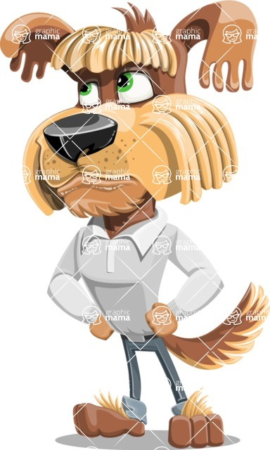Fluffy Dog Cartoon Vector Character AKA Pinky Funk - Roll Eyes