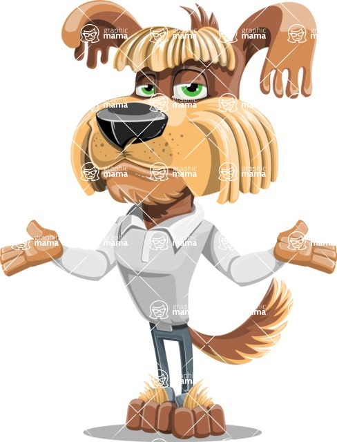 Fluffy Dog Cartoon Vector Character AKA Pinky Funk - Lost
