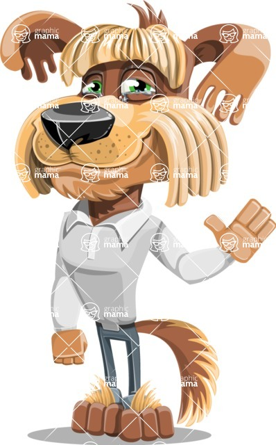 Fluffy Dog Cartoon Vector Character AKA Pinky Funk - GoodBye