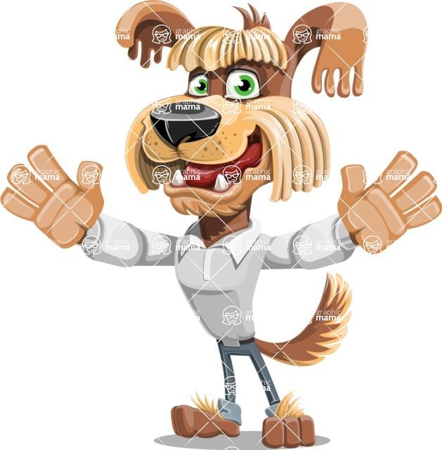 Fluffy Dog Cartoon Vector Character AKA Pinky Funk - Hello