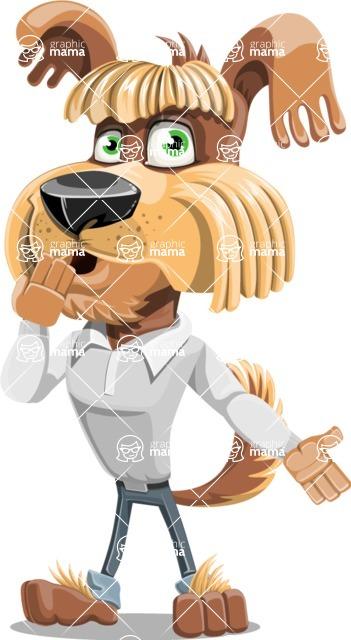 Fluffy Dog Cartoon Vector Character AKA Pinky Funk - Oops